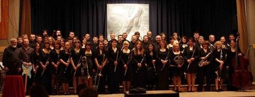 Der Musikverein vor dem Jahreskonzert 2010