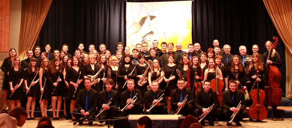 Der Musikverein Wollbach vor dem Jahreskonzert 2014